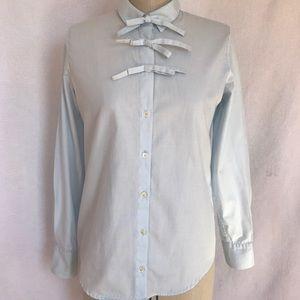 Sonia Rykiel pale blue 3 bow cotton blouse. Size 4